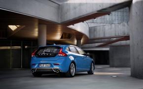 Картинка голубой, Volvo, Вольво, blue, задок, универсал, корма, V40, в40, R-Design