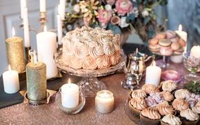 Картинка цветы, стиль, свечи, торт, крем, винтаж, пирожные