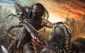 Картинка глаз, оружие, меч, доспехи, воин, сражение