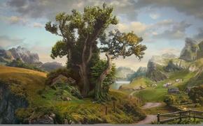 Картинка дорога, облака, пейзаж, горы, озеро, дерево, забор, дома, деревня, арт, Daniel Romanovsky