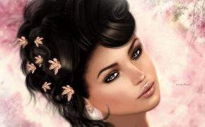 Картинка девушка, цветы, лицо, портрет, брюнетка, прическа