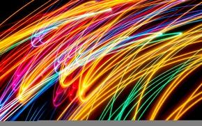 Картинка лучи, линии, огни, цвет, трассы