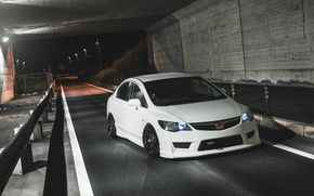 Картинка white, wheels, honda, japan, jdm, tuning, civic, front, face, low, stance, mugen, type r, vtec
