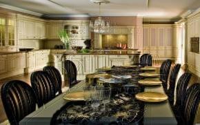 Картинка комната, интерьер, стол, wallpapers, квартира, фон, обои, кухня, стулья, тарелки, посуда, дизайн
