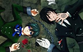 Обои демон, anime, kuroshitsuji, себастьян, сиель, темный дворецкий, сделка, sebastian