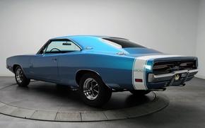 Картинка фон, Додж, 1969, Dodge, Charger, 500, Muscle car, Мускул кар, Hemi, Чарджер, вид сзади.синий