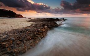 Обои море, рассвет, скалы, побережье, камни