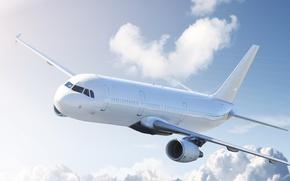 Картинка небо, облака, самолет, летит, гражданский