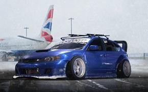 Обои Subaru, Impreza, WRX, Blue, STI, Snow, Stance