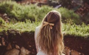 Картинка девушка, волосы, бант