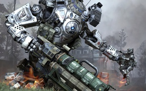 Картинка wallpaper, battlefield, gun, game, robot, weapon, war, man, rifle, knife, suit, uniform, combat, Titanfall, titan, ...