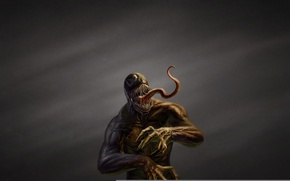 Картинка язык, темный фон, монстр, комикс, зубастый, Spider-Man, Веном, Venom, Симбиот
