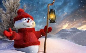Обои снеговик, snow, зима, lantern, stick, New Year, smile, фонарь, улыбка, рождество, палка, snowman, Новый год, ...