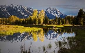 Картинка осень, небо, снег, деревья, горы, озеро, Вайоминг, США, Grand Teton National Park