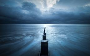 Картинка storm, sea, seascape, cloudy, pillars