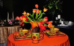 Картинка цветы, сервиз, стол, букет, чашка, тюльпаны, тарелка, натюрморт