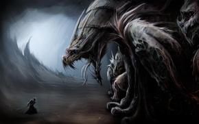 Картинка дракон, воин, Арт