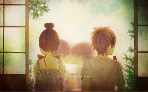 Картинка лето, спина, поцелуй, арбуз, двери, двое, art, bokura ga ita, yuuki obata, motoharu yano, nanami …