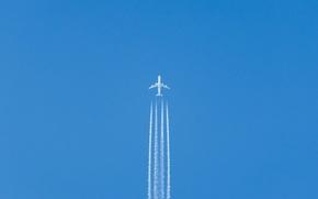 Обои небо, минимализм, самолёт