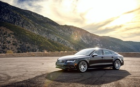 Картинка горы, Audi, ауди, черная, wheels, black, frontside