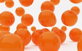 Картинка оранжевый, графика, Шары, белый фон