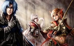 Картинка девушки, арт, эльфы, girl, парень, воины, art, boy, warriors, elves