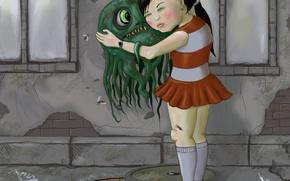 Картинка рисунок, монстр, девочка