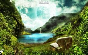 Картинка зелень, небо, вода, скамейка, природа, река, гора