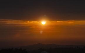 Картинка солнце, облака, оранжевый, желтый, восход, обои