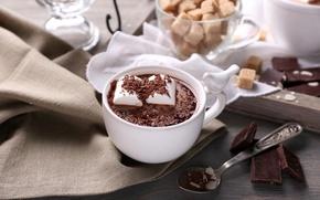 Обои шоколад, hot, cup, chocolate, какао, cocoa, зефир, marshmallow