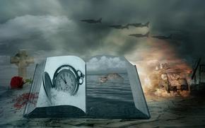 Картинка часы, роза, крест, книга, самолёты