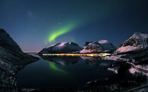 Картинка зима, горы, ночь, северное сияние