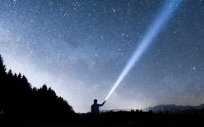 Картинка light, Switzerland, trees, Europe, mountains, stars, cosmos, hills, man, guy, torch, male, composition, long exposure, …