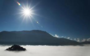 Картинка солнце, горы, Италия, дымка