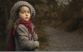 Картинка шапка, портрет, шарф, девочка