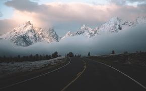 Картинка дорога, облака, горы, туман