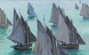 Картинка Клод Моне, картина, Рыбацкие Лодки. Спокойное Море, морской пейзаж, парус