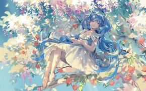 Картинка девушка, цветы, улыбка, дерево, ветви, аниме, арт, vocaloid, hatsune miku, rrr