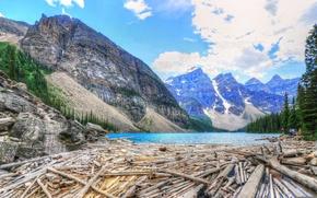 Картинка небо, деревья, горы, озеро, Канада, canada