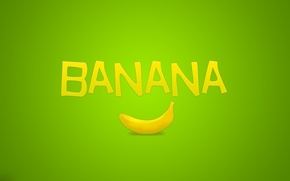 Обои надпись, минимализм, фрукт, зелёный, банан