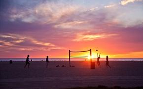 Картинка summer, california, beach, ocean, sunset, usa, wave, los angeles, venice beach
