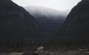 Картинка North, rocks, mountains, view, Autumn Aurora, spruce