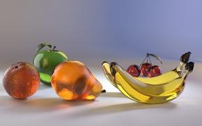 Обои cherie, бананы, glass, груша, orange, апельсин, вишни, яблоко, apple, pear, стекло, banana