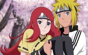 Обои anime, naruto shippuden, girl, blue eyes, love, kushina, logo konohagakure no sato, cherry tree, red ...