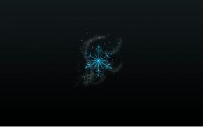 Картинка темный фон, сетка, искры, снежинка