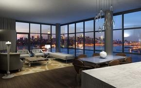 Обои комната, стиль, обои, город, интерье, современный уют, вид, фото, дизайн