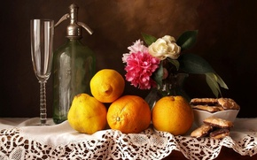 Картинка glass, flowers, sweet, fruits, sweets, Still life, oranges, peonies, cookes, friut