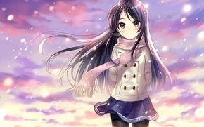 Картинка девушка, снег, улыбка, аниме, шарф, арт, форма, школьница, hanekoto