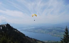 Картинка горы, река, равнина, Швейцария, панорама, параплан