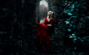 Картинка девушка, замок, красное платье, medieval, Kindra Nikole